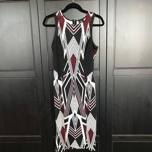 Geometric black and red print mossimo dress midi